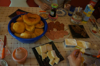 Our breakfast one morning - cheeses, sliced meats, homemade sausage, and homemade donuts.