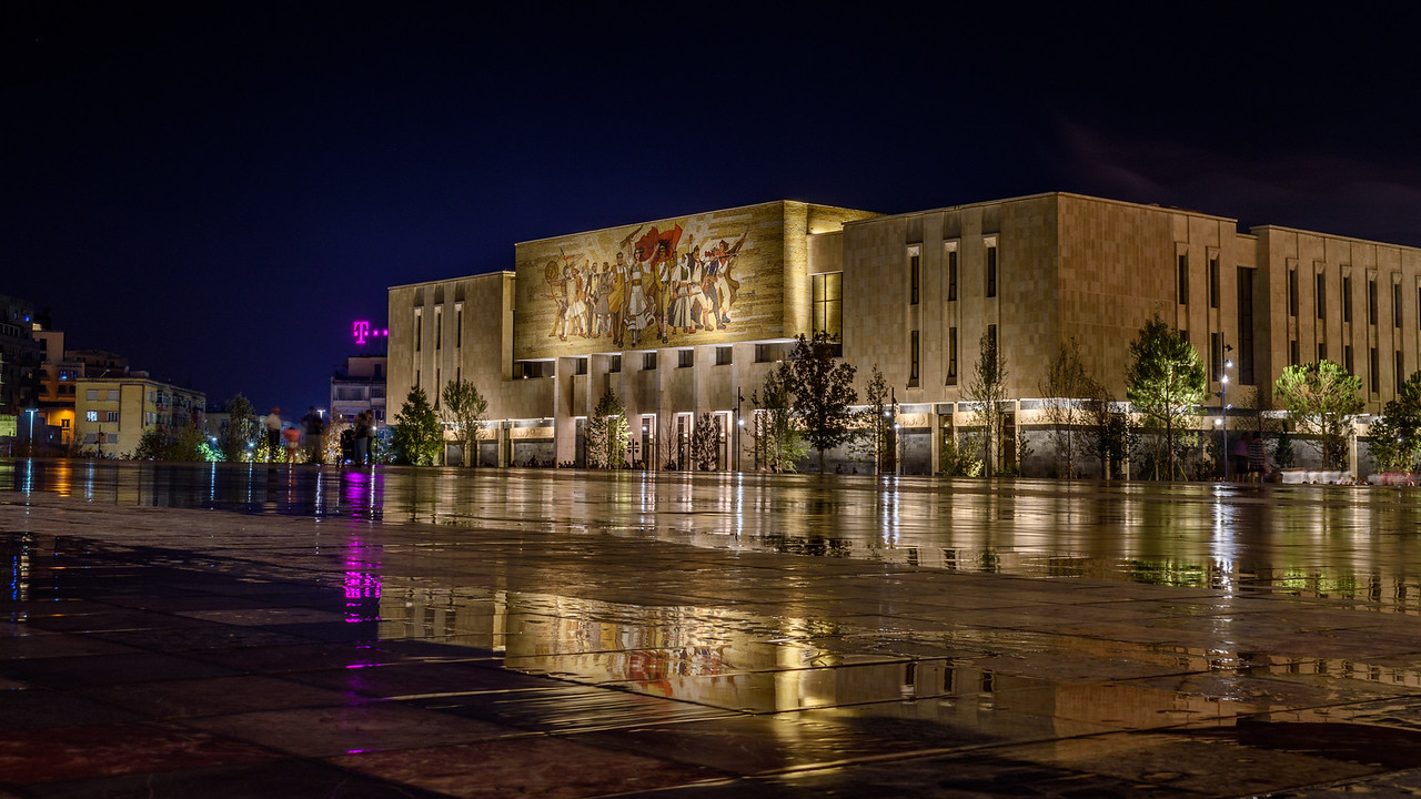 National Museum and Skanderbeg Square at night, Tirana