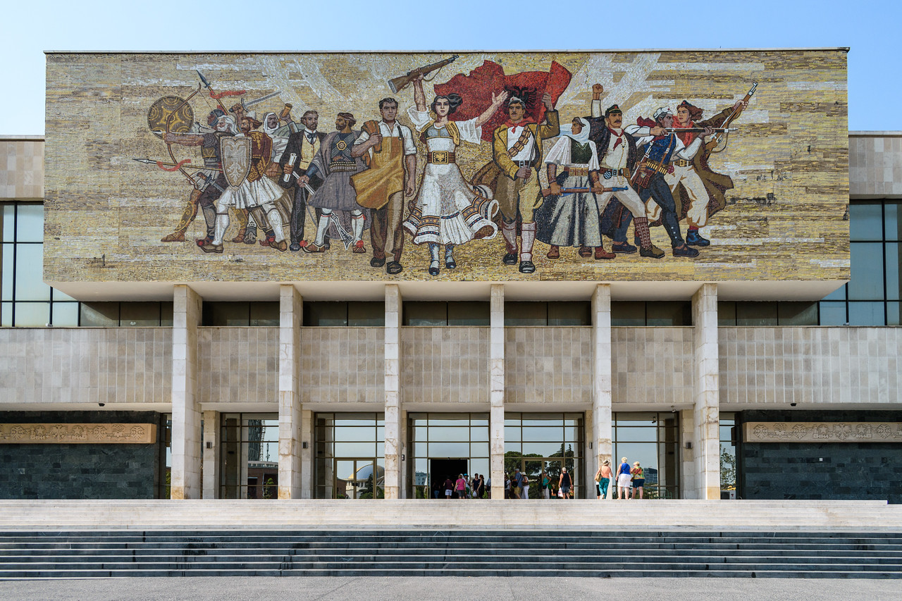 Mural on National History Museum in Tirana