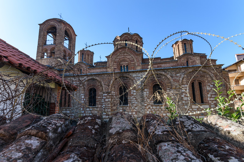Barbed wire surrounding Serbian church in Prizren