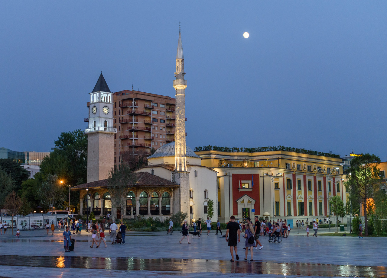 27 - Skanderbeg Square at dusk, Tirana
