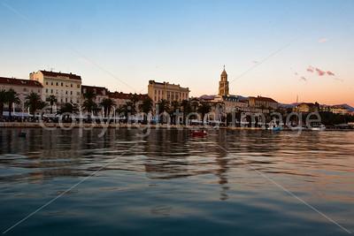 Split harbor in the evening