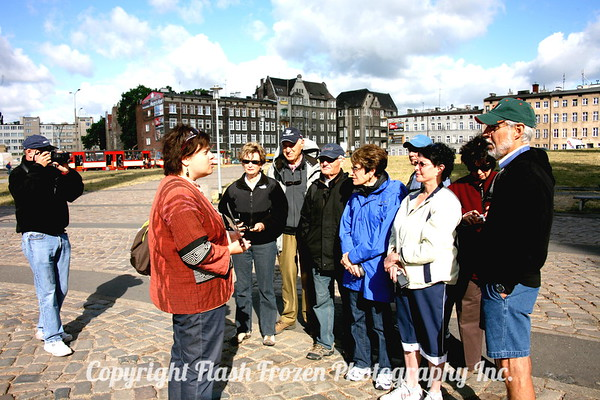 At the Solidarity Monument in Gdansk, Poland with our guide, Johanna.