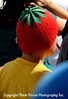 One of the many fruity hats we saw...it was a bit warm for them