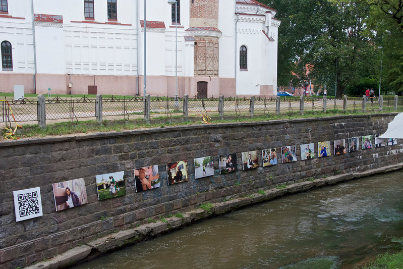 Orthodox Church of the Holy Mother of God and Art Show Along the Vilnia River, Vilnius