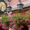 Restaurant Shingle and Hanging Flowers, Pilies Street, Vilnius