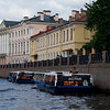 Canal Boats and Buildings Along the Moika River Embankment