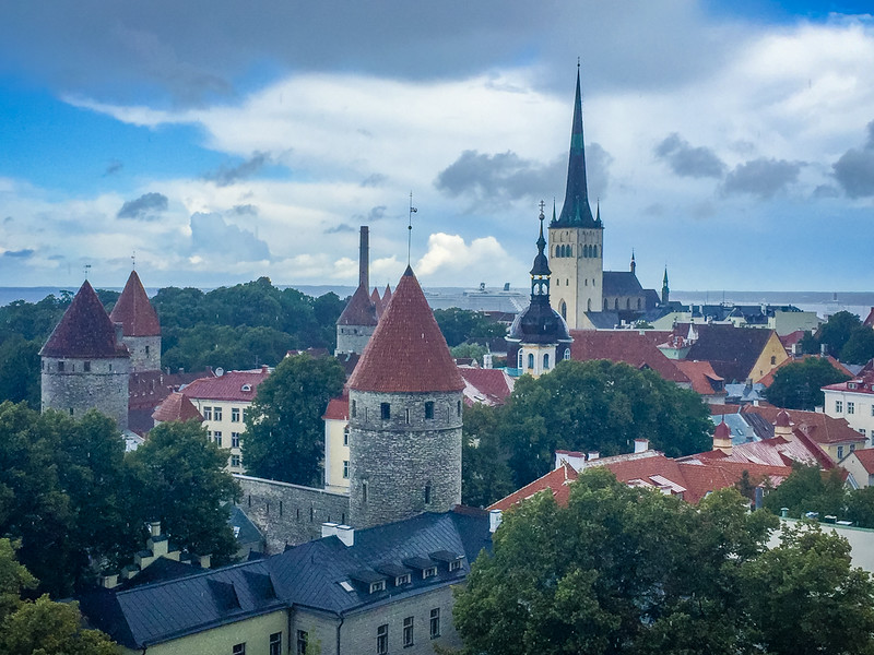An overlook above old Tallinn in the rain.