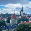An overlook above old Tallinn in the rain.