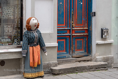 Doll outside store in Tallinn, Estonia.