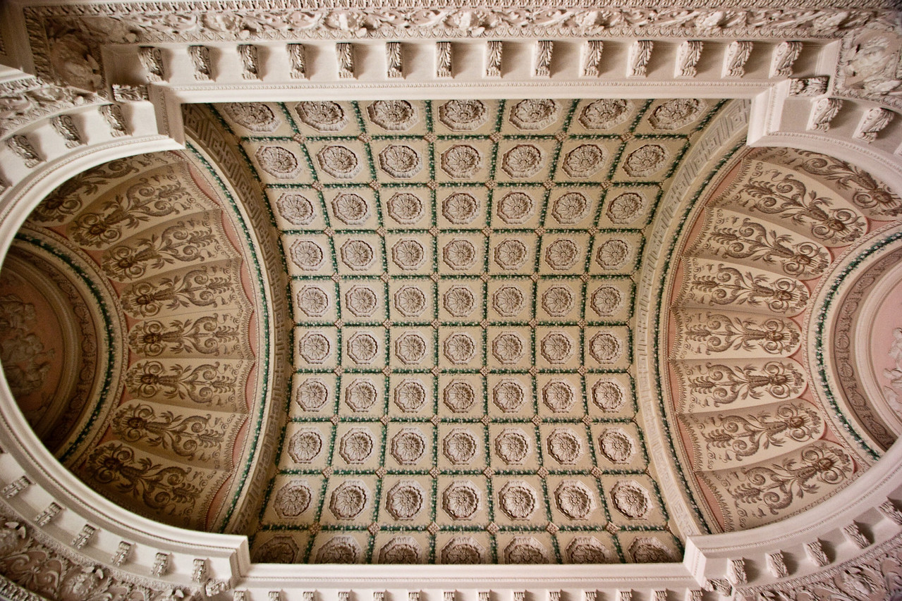 Straight up view of arched ceiling.