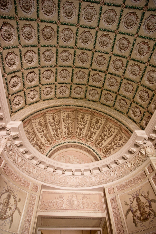 Arched ceiling with amazing decorations.