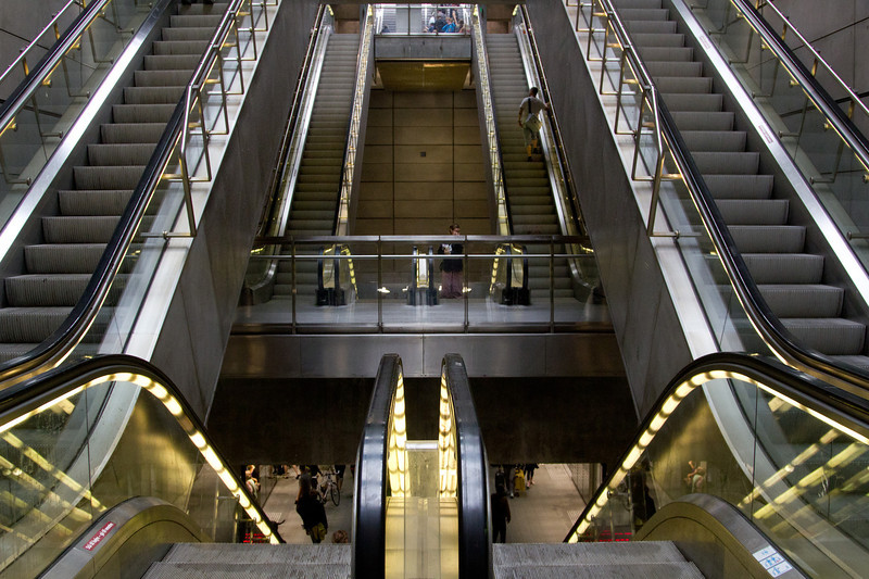 Escalators leading into the metro station.
