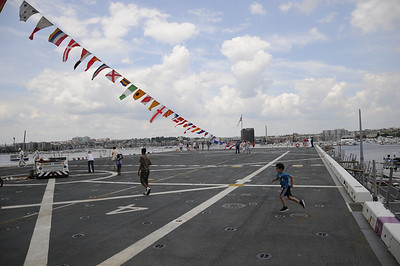 Not a parking lot, but the flight deck on the USS San Antonio.