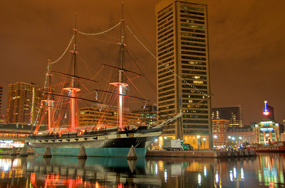 USS Constellation at Night