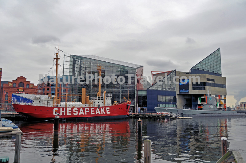 Baltimore Inner harbor. Lightship Chesapeake, Submarine USS Torsk and national Aquarium in Baltimore featured.