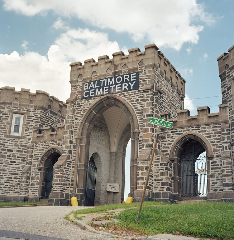 Stone castle gates of Baltimore Cemetery on North Ave