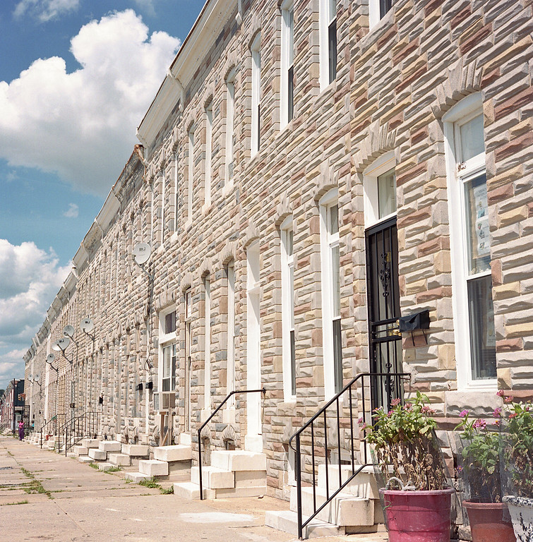 Formstone, marble steps on row homes in East Baltimore