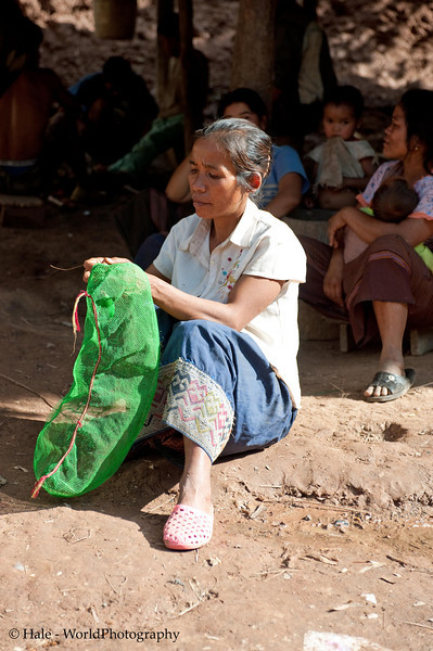 Khmu Woman Crocheting A Net Bag, Ban Sopsim, Laos