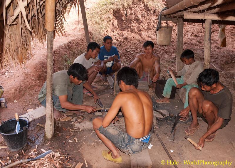 Khmu Men Metal Working and Socializing In Ban Sopsim, Laos