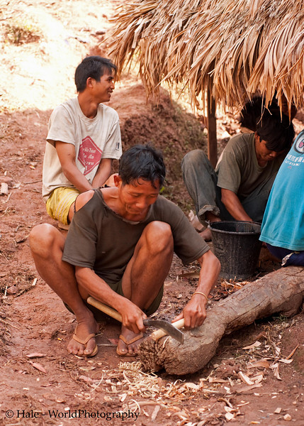 Khmu Man Preparing A Knife Handle in Ban Sopsim, Laos