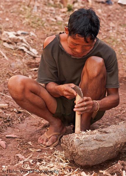 Khmu Man Preparing A Knife Handle in Ban Sopsim, Laos