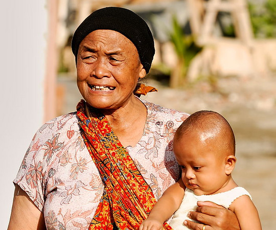 A grandmother with her grandchild, Banda Aceh.