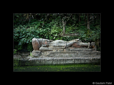 29: Sleeping Vishnu statue, Bandhavgarh | Sheshaiya 1 March 2010 NIKON D40X; 18-200 mm f/3.5-5.6; Pattern; 1/40 sec at f/5.0; ISO-800;