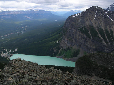 Lake Louise from the top of Piran.: View of Bow Valley heading towards Banff in the backgrond, Lake Louise Lodge on the left edge of Lake.  Mt Fairview across the lake to the right.