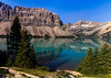 Morning panorama of Bow Lake on the Icefields Parkway in Canada. The water color was unreal.