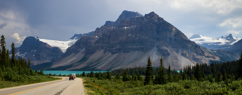 Bow Lake Canada, on the Icefields Parkway, looking south in the afternoon. This drive is rated one of the most scenic in the world and provides great photo targets in rapid succession.