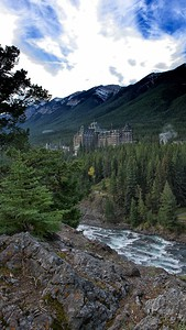 Banff Springs Hotel Bow River rapids Banff, Alberta