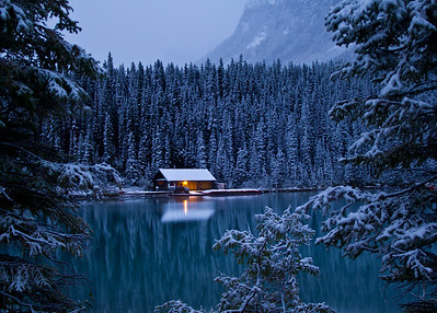Chateau Lake Louise Boathouse and early morning snow