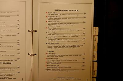 Hotel room service menu.