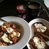 first attempt at cooking in india... eggs with peppers and cheese, toast, jam and tea