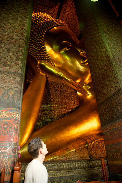 The reclining Buddah statue is the largest Buddah statue in Thailand.  It measures 46 meters long and 15 meters high.