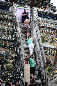 A treacherous climb to the top of Wat Arun - one had to have a firm grip on the side rail and heave
