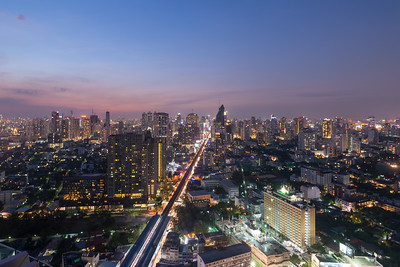 360º view from Octave Rooftop Lounge & Bar of Bangkok Marriott Hotel Sukhumvit, Bangkok, Thailand located on the 45th floor. This luxury hotel is set in the posh Thonglor district.