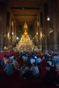 Wat Pho (Thai: วัดโพธิ์). Temple of the Reclining Buddha Complex. Wat Phra Chetuphon Vimolmangklararm Rajwaramahaviharn.  Wat Pho, also spelt Wat Po, is a Buddhist temple complex in the Phra Nakhon District, Bangkok, Thailand. It is on Rattanakosin Island, directly south of the Grand Palace. The temple complex houses the largest collection of Buddha images in Thailand, including a 46 m long reclining Buddha. The temple is considered the earliest centre for public education in Thailand, and the marble illustrations and inscriptions placed in the temple for public instructions has been recognised by UNESCO.
