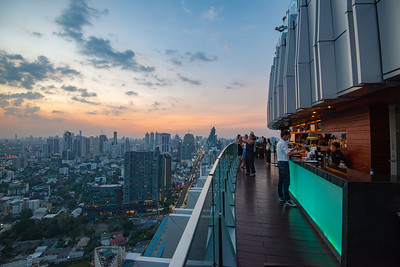 Roof top bar with 360º view from Octave Rooftop Lounge & Bar of Bangkok Marriott Hotel Sukhumvit, Bangkok, Thailand located on the 45th floor. This luxury hotel is set in the posh Thonglor district.