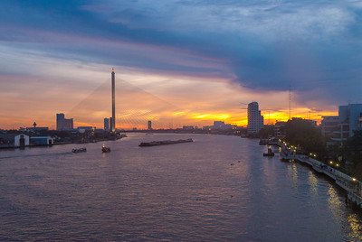 The Chao Phraya is the major river in Thailand, with its low alluvial plain forming the centre of the country. It flows through Bangkok and then into the Gulf of Thailand.