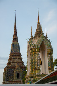 Highly decorated roofs of the Grand Palace, Bangkok, Thailand.