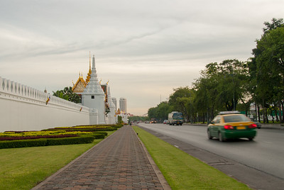 Boundary wall/road outside the Grand Palace, Bangkok, Thailand.