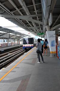 Train at Saphan Khwai N7 railway station in Bangkok, Thailand