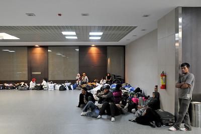 Passengers waiting at Mumbai International Airport, Mumbai, India