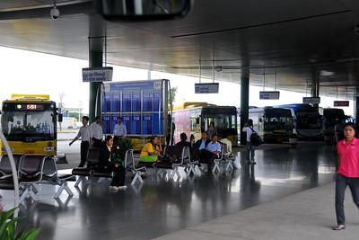 Bus ride to Bangkok International Airport, Thailand.