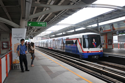 Passengers wait at Saphan Khwai N7 railway station in Bangkok, Thailand