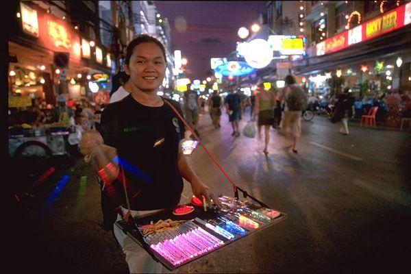 Glow Sticks on Khao San Road at night Bangkok, Thailand