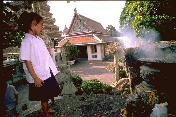 Little thai girl in Grand Palace Bangkok, Thailand