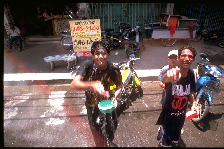 Songkran festival splashing window in Thailand